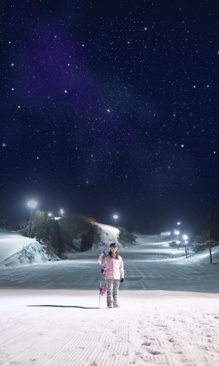 今庄365スキー場、夜のイメージ